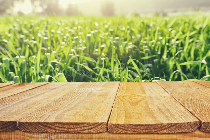 Пустая деревенская таблица перед предпосылкой сельской местности дисплей продукта и концепция пикника стоковое изображение rf