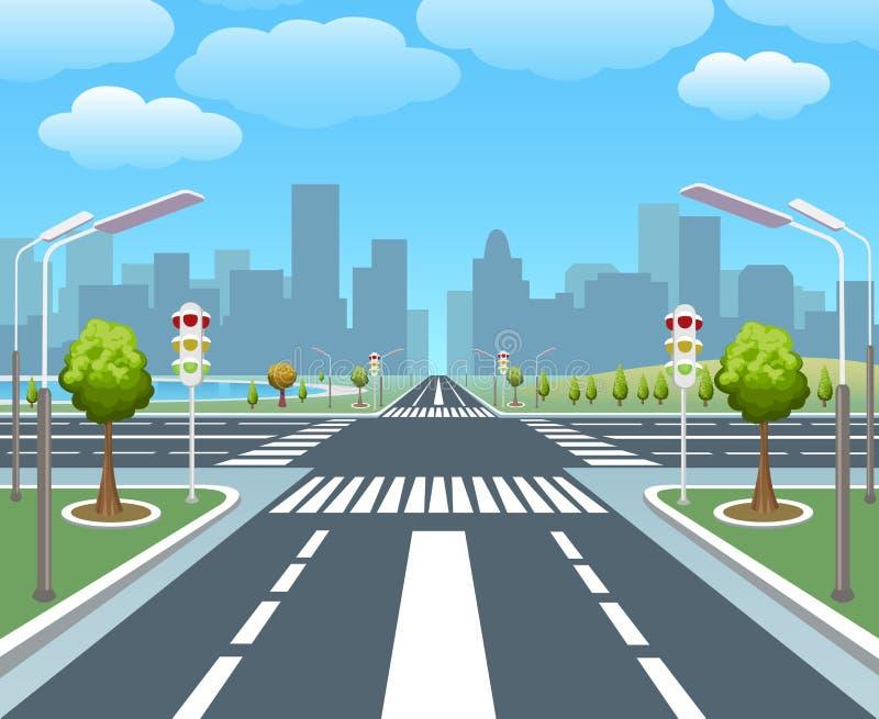 Пустая дорога города иллюстрация вектора