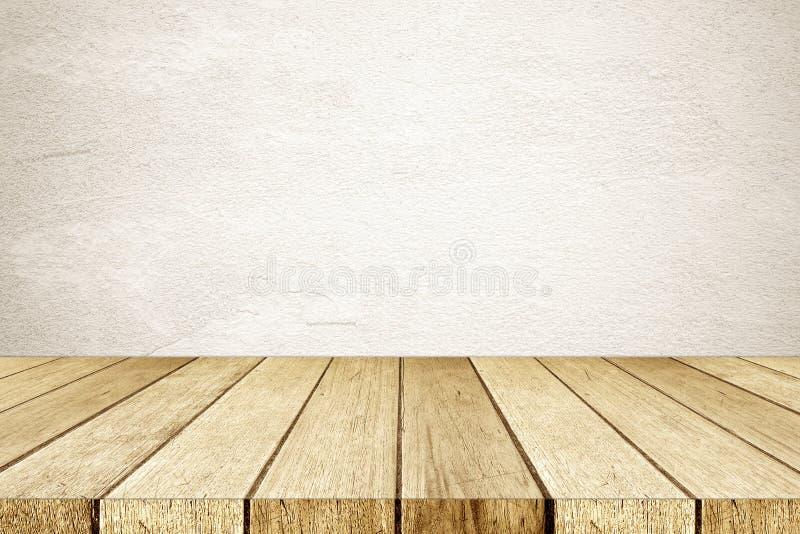 Пустая древесина перспективы и коричневый цемент огораживают предпосылку, комнату, t стоковое фото rf