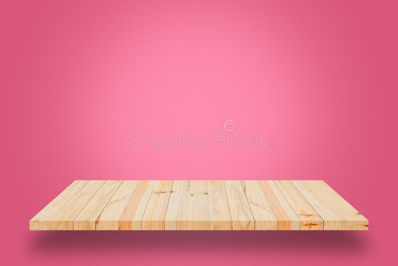 Download Пустая деревянная полка на розовой предпосылке градиента Стоковое Изображение - изображение насчитывающей размещение, продукт: 81804097