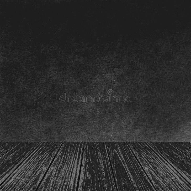 Пустая деревянная платформа перспективы при абстрактная текстура предпосылки стены черноты Grunge используемая как шаблон для тог стоковое фото rf
