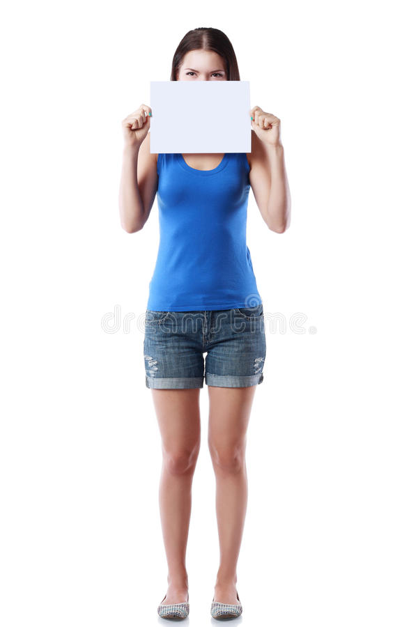 пустая женщина знака удерживания стоковое фото rf
