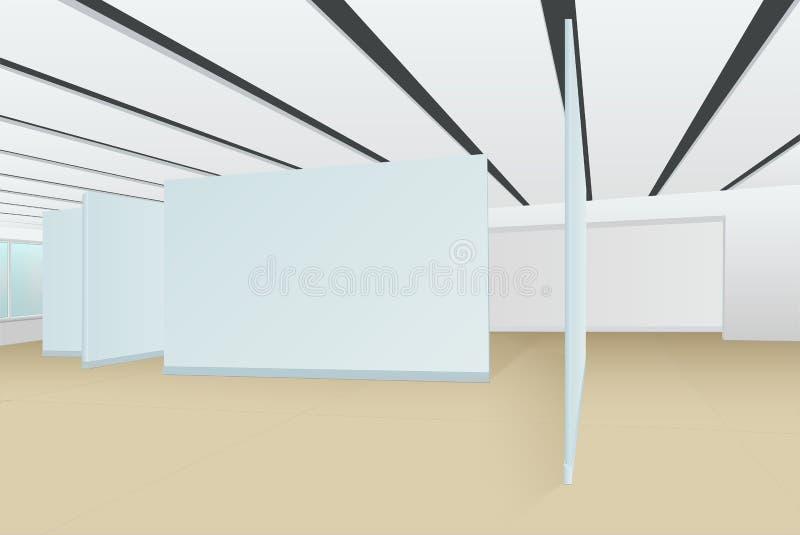 Пустая зала картинной галереи с стойками для картин, pho стоковые фотографии rf