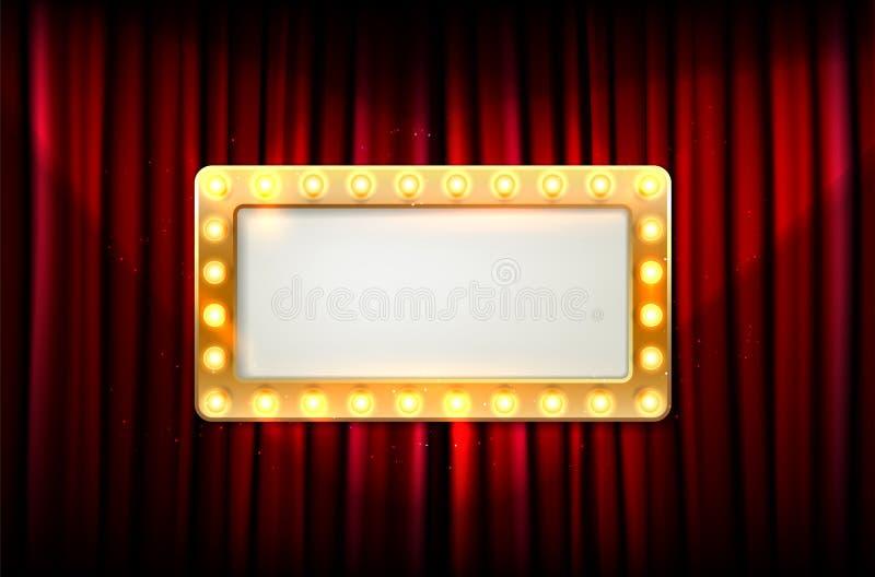 Пустая золотая рамка с электрическими лампочками на красном занавесе иллюстрация штока