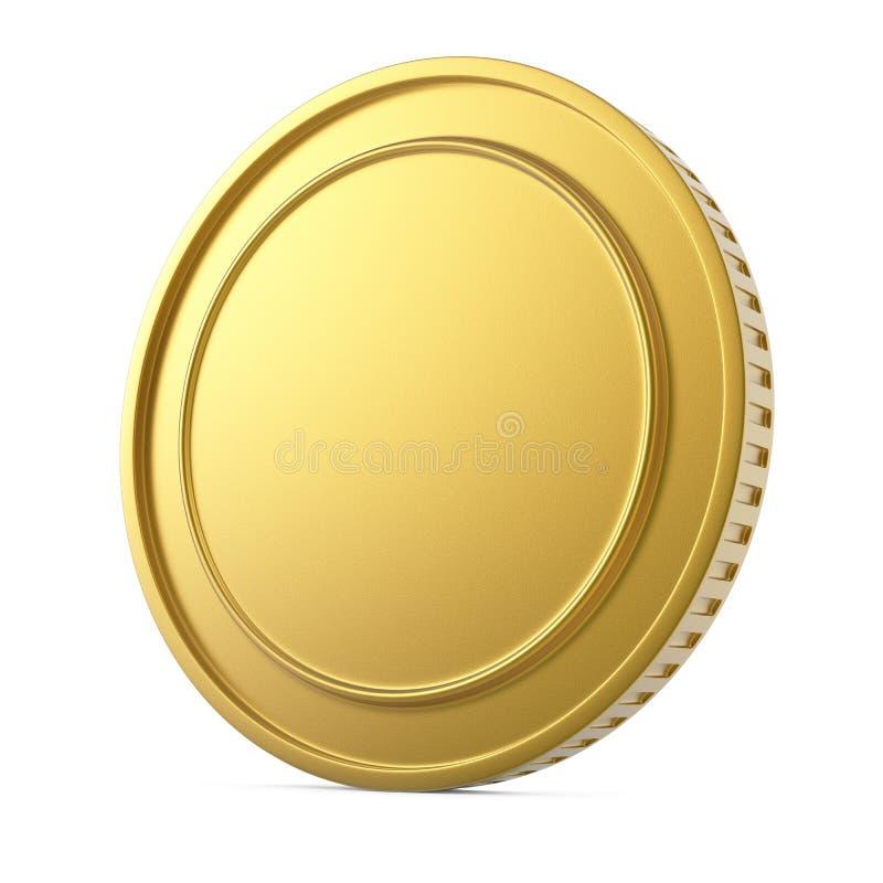 Пустая золотая монетка изолированная на белой предпосылке иллюстрация штока