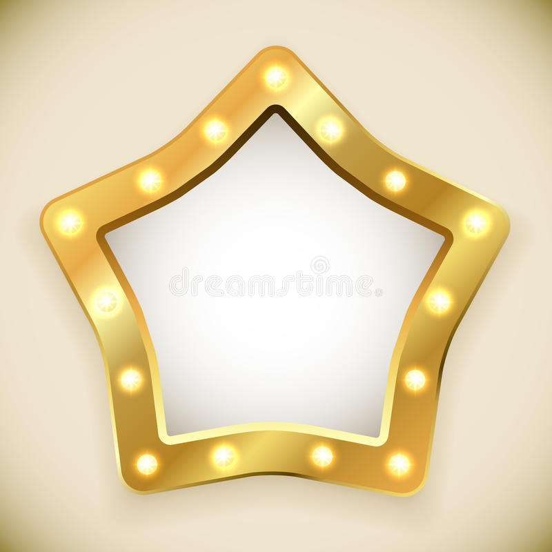 Пустая золотая рамка звезды иллюстрация штока