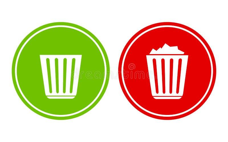 Пустая и полная мусорная корзина иллюстрация вектора