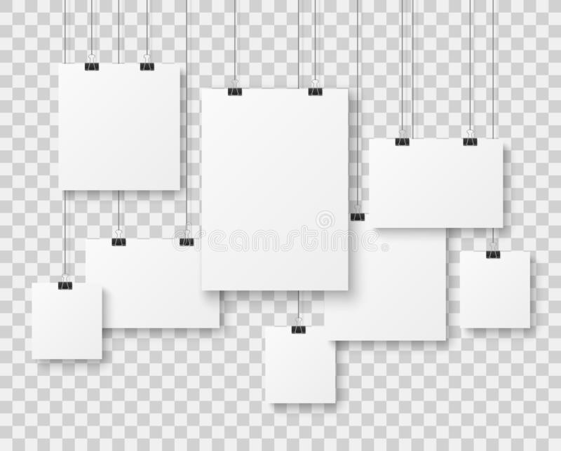 Пустая картинная галерея Плакаты представления бумажные, знамя холста фото чистое рекламируя вися на векторе строк иллюстрация штока