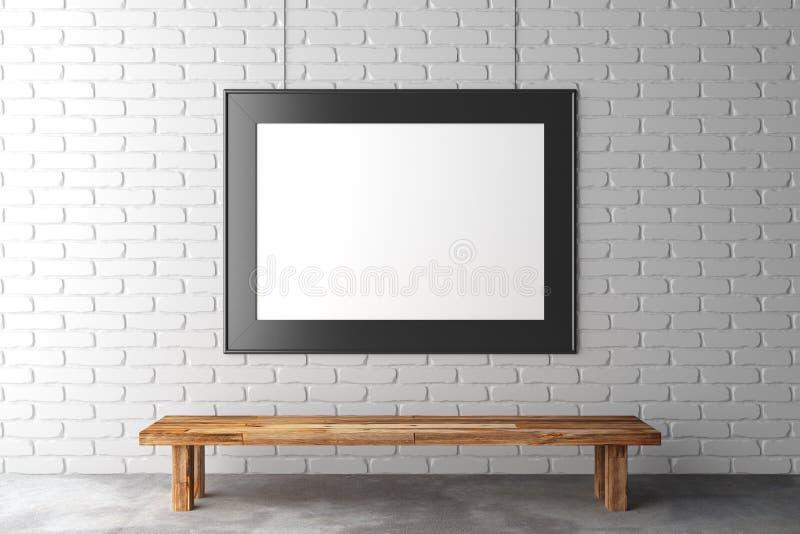 Пустая картинная рамка на кирпичной стене с деревянной скамьей на бетоне иллюстрация вектора