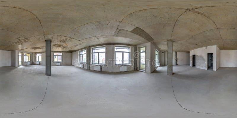 Пустая комната без ремонта полностью безшовная сферически панорама hdri 360 градусов в интерьере белого офиса комнаты просторной  стоковые фотографии rf