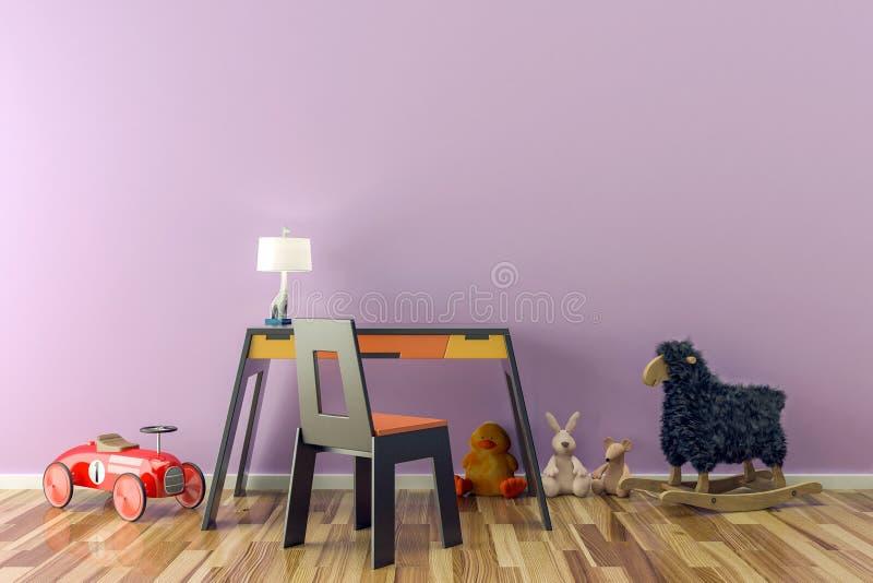 Пустая комната детей с игрушками, столом работы и стулом бесплатная иллюстрация
