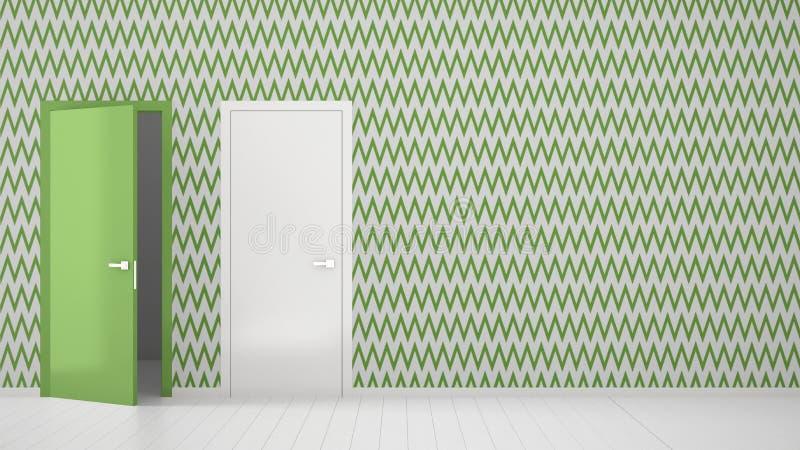 Пустая комната с белым и зеленым дизайном интерьера обоев с открытыми и закрытыми дверями с рамкой, деревянным белым полом Выбор, стоковое фото