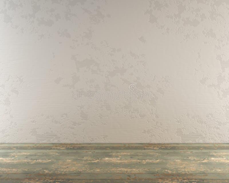 Пустая комната с деревянным полом и белой стеной стоковые фотографии rf