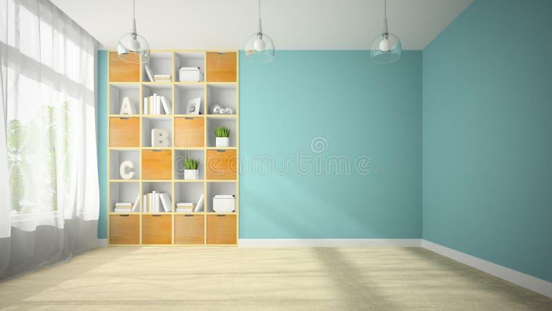 Пустая комната с переводом shelfs 3D ниши стоковое фото