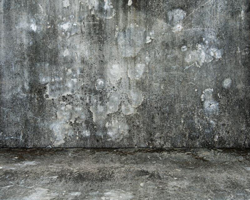 Пустая комната с старыми испещрянными бетонной стеной и полом стоковые изображения rf