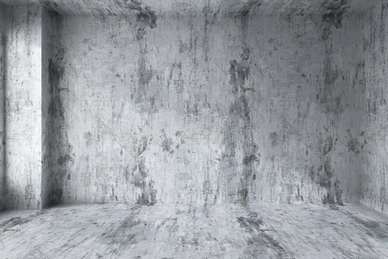 Пустая конкретная комната с угловым интерьером иллюстрация штока