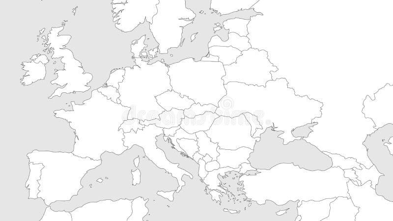 Пустая контурная карта Европы с кавказской зоной Упрощенная карта wireframe границ черноты выровнянных также вектор иллюстрации п иллюстрация вектора