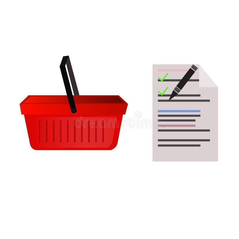 Пустая корзина для товаров супермаркета, список иллюстрация вектора