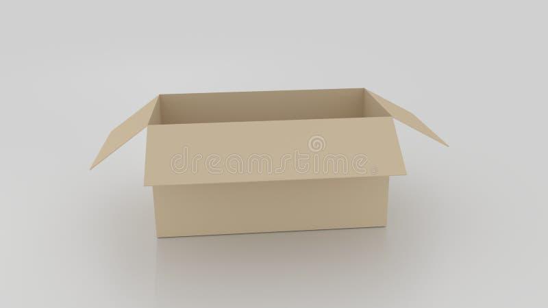 Пустая коричневая картонная коробка раскрыла, подготавливает для того чтобы обернуть вещи в ей дальше иллюстрация штока