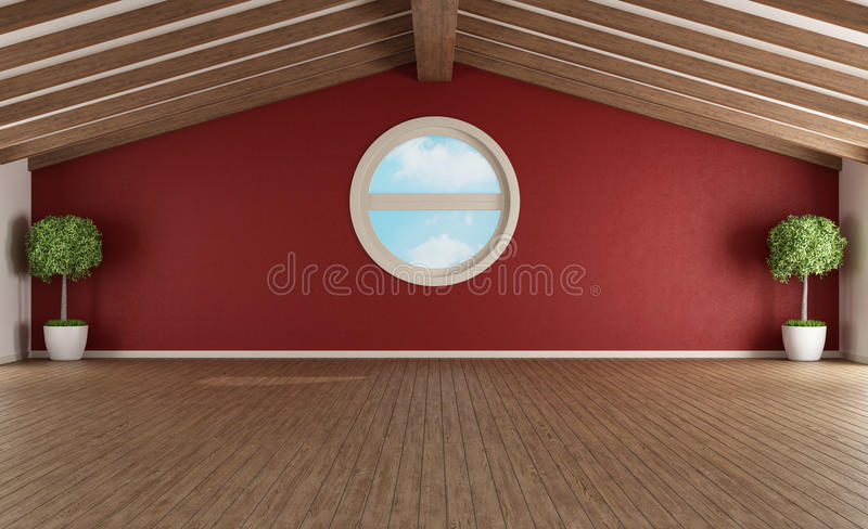 Пустая красная мансарда иллюстрация штока