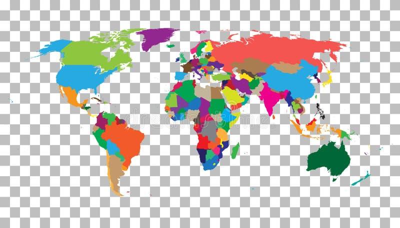 Пустая красочная карта мира на изолированной предпосылке Vecto карты мира бесплатная иллюстрация