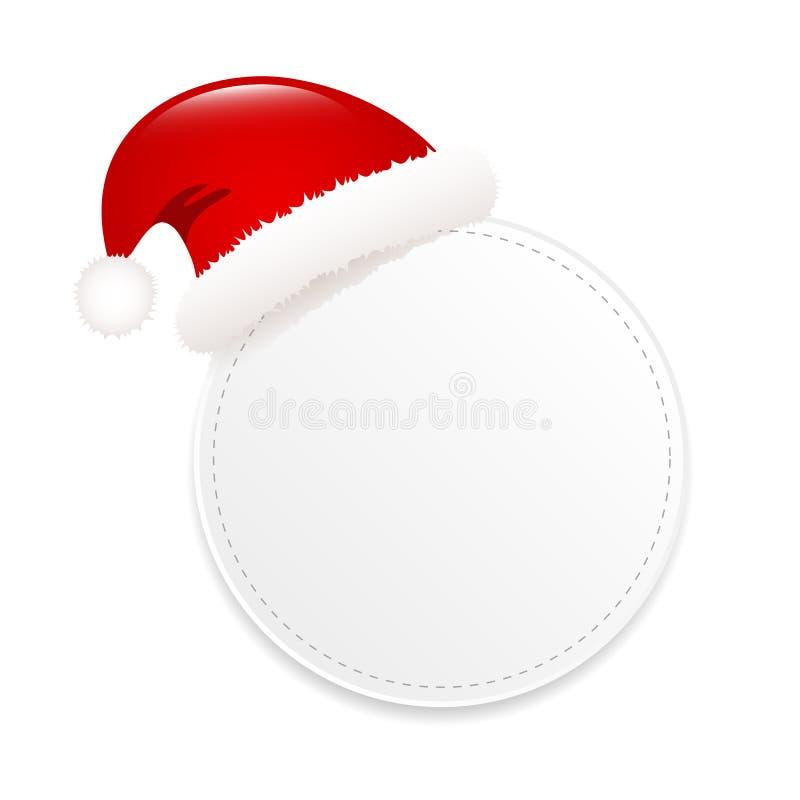 Пустая круглая бирка подарка с крышкой Санта Клауса изолировала на белой предпосылке бесплатная иллюстрация