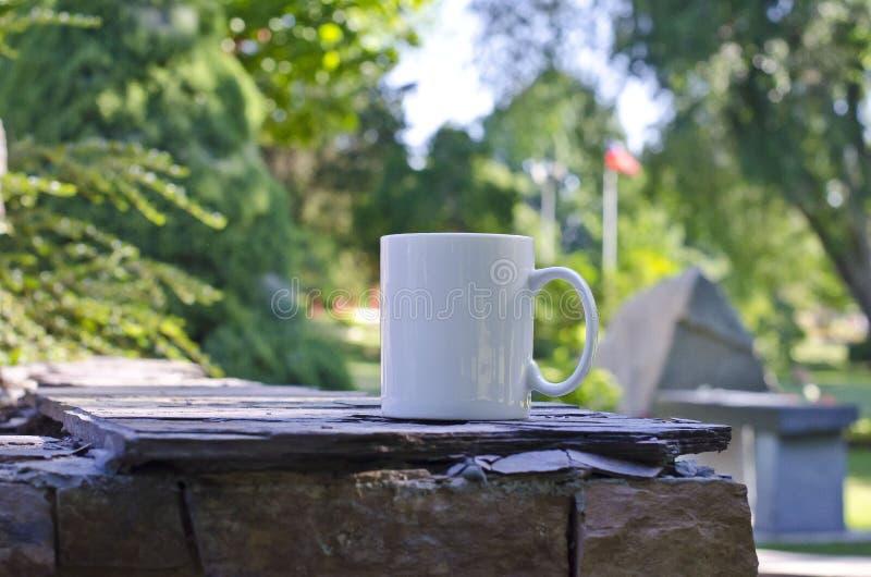 Пустая кружка белого кофе на парке штата стоковое изображение