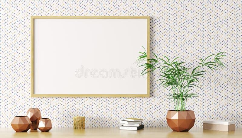 Пустая насмешка вверх по переводу деревянной рамки 3d бесплатная иллюстрация