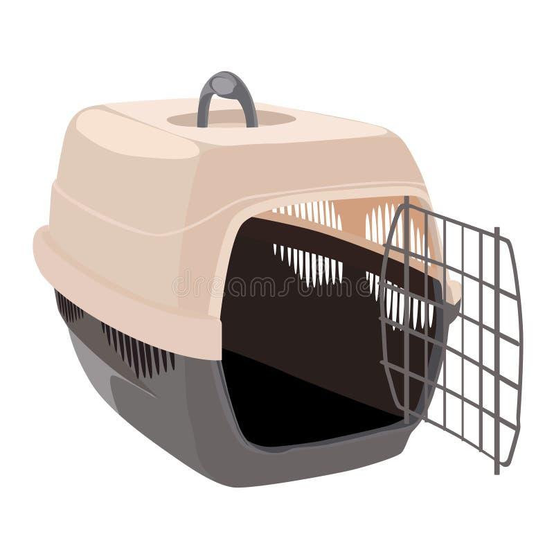 Пустая несущая любимца для транспорта животных с открыть дверью для собак среднего размера r иллюстрация штока