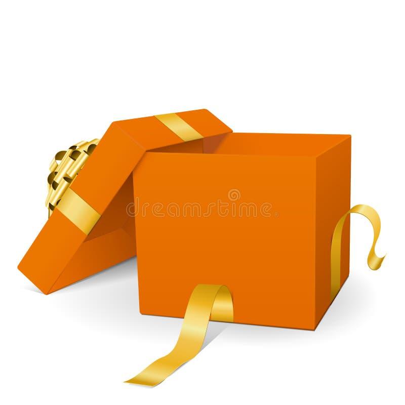 Пустая оранжевая подарочная коробка вектора 3D с золотой лентой пакета бесплатная иллюстрация