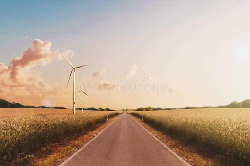 Пустая дорога, ландшафт - небо захода солнца и ветротурбины стоковые изображения