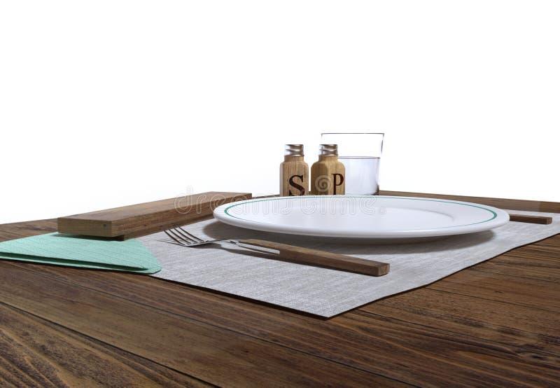 Пустая плита на деревянной таблице Соль, перец, serviette, стекло воды и деревянный столовый прибор белизна изолированная предпос стоковые изображения rf