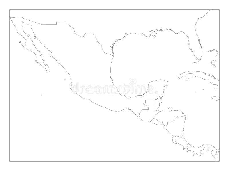 Пустая политическая карта Центральной Америки и Мексики Простая тонкая черная иллюстрация вектора плана иллюстрация вектора