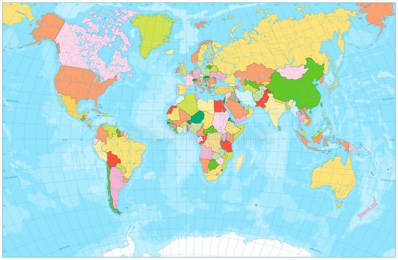 Пустая политическая карта мира с с реками, озерами, морями и ocea иллюстрация вектора