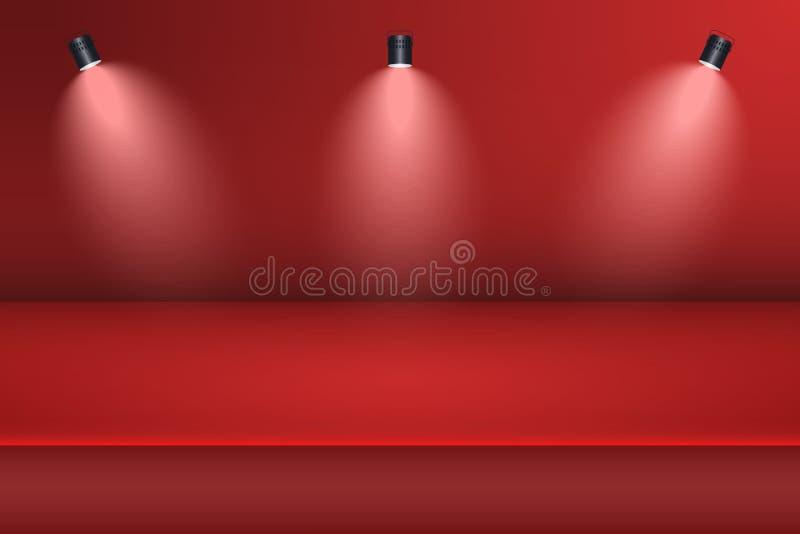 Пустая предпосылка комнаты студии с фарой Красная таблица студии для дисплея продукта шаблон 3d для рекламирует продукт вектор иллюстрация вектора