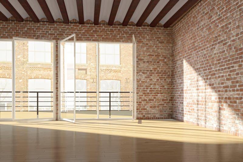 Пустая просторная квартира с красной кирпичной стеной иллюстрация штока
