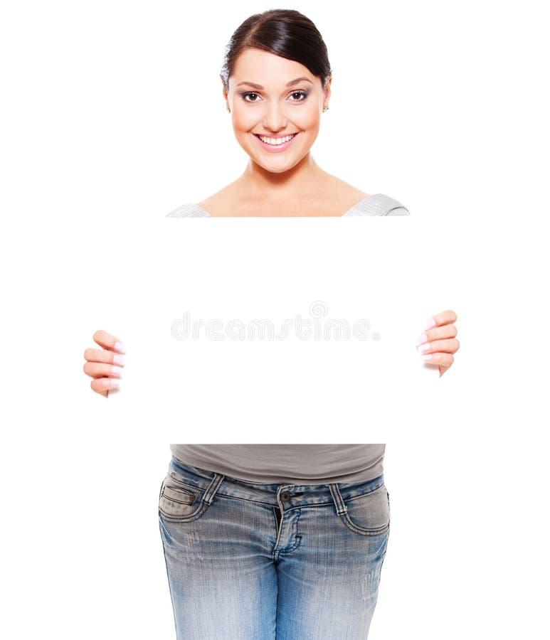 пустая пустая женщина smiley удерживания стоковая фотография