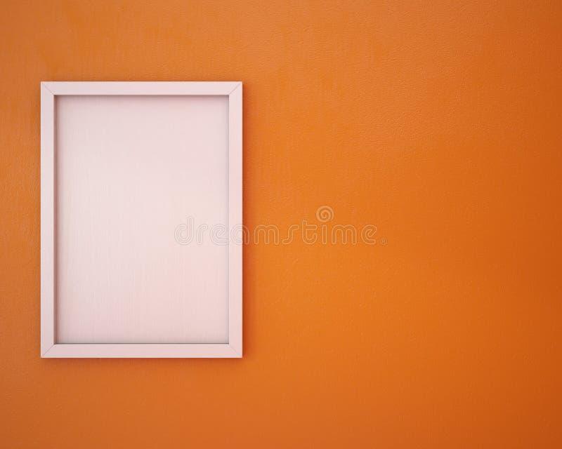 Пустая рамка на оранжевой стене иллюстрация штока