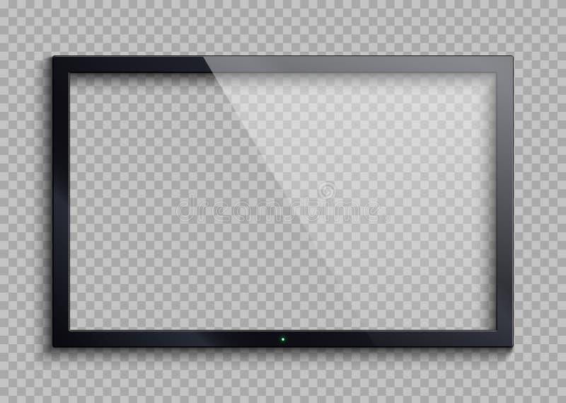Пустая рамка ТВ при изолированный экран отражения и прозрачности Иллюстрация вектора монитора Lcd иллюстрация штока