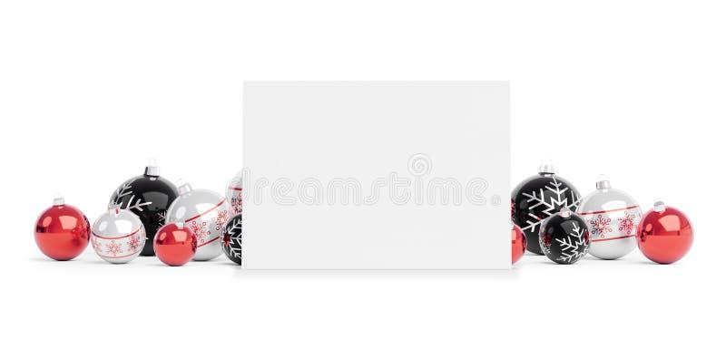 Пустая рождественская открытка кладя на красные безделушки изолировала перевод 3D иллюстрация вектора