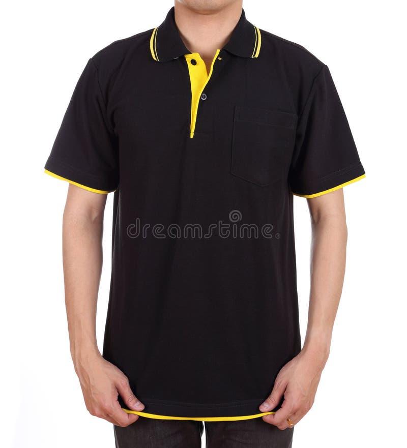Пустая рубашка поло на человеке стоковое изображение rf