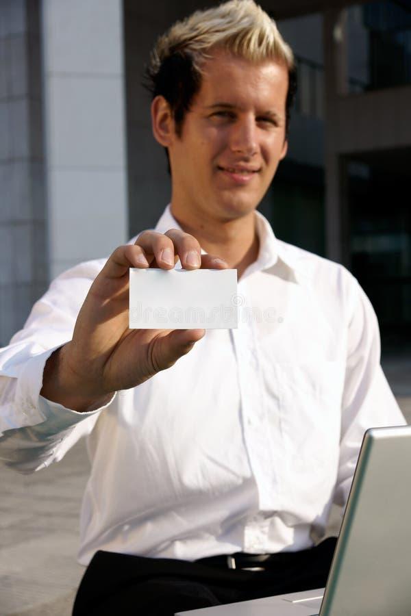 пустая рука визитной карточки стоковое фото