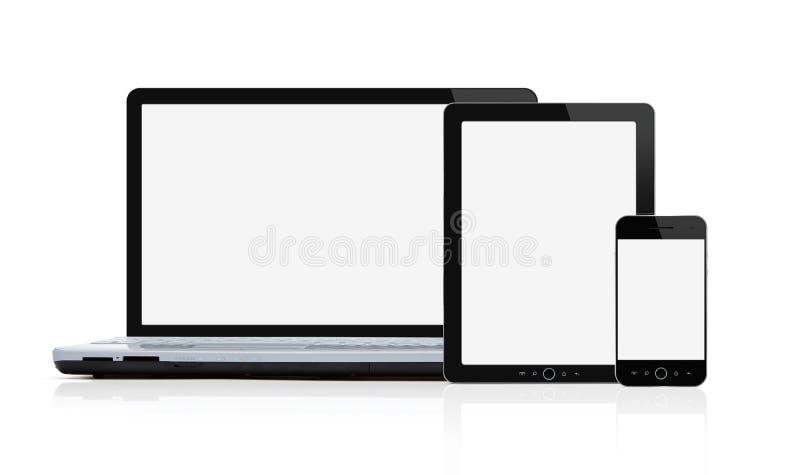 Комплект пустых самомоднейших мобильных устройств стоковые изображения rf