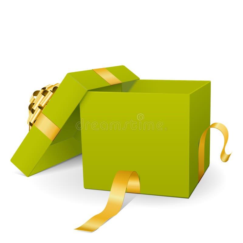 Пустая свежая зеленая подарочная коробка вектора с золотой лентой пакета иллюстрация вектора