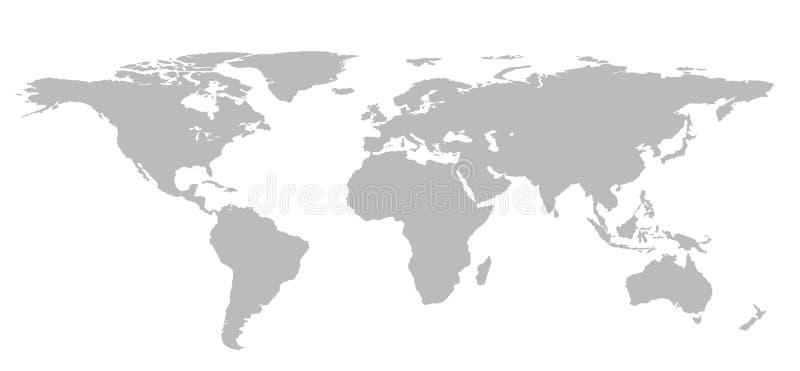 Пустая серая карта мира изолированная на белой предпосылке Infographics, бесплатная иллюстрация
