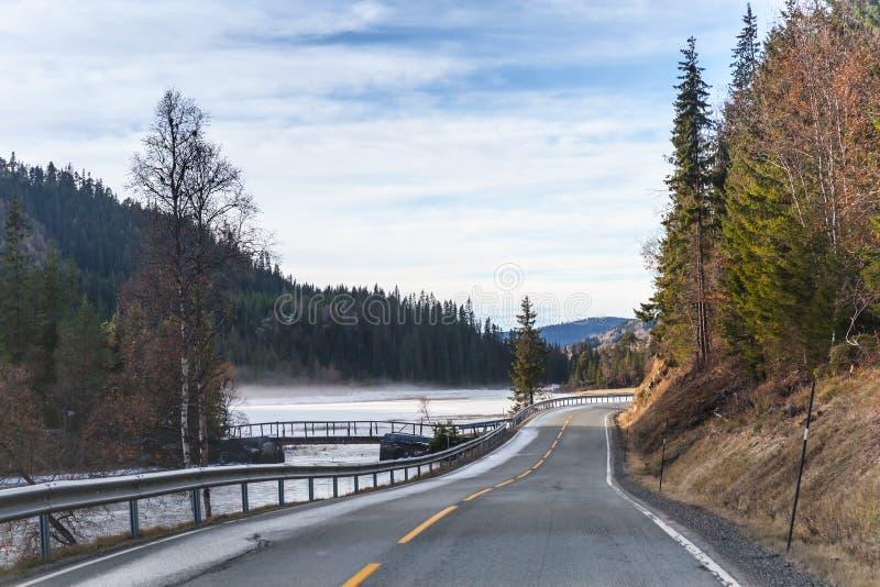 Пустая сельская норвежская дорога стоковые фотографии rf