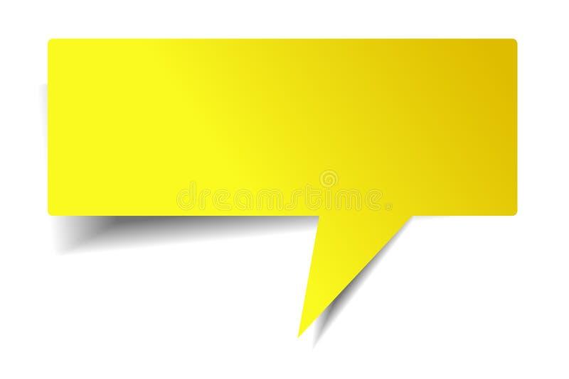 Пустая сияющая желтая беседа пузыря на белой предпосылке бесплатная иллюстрация