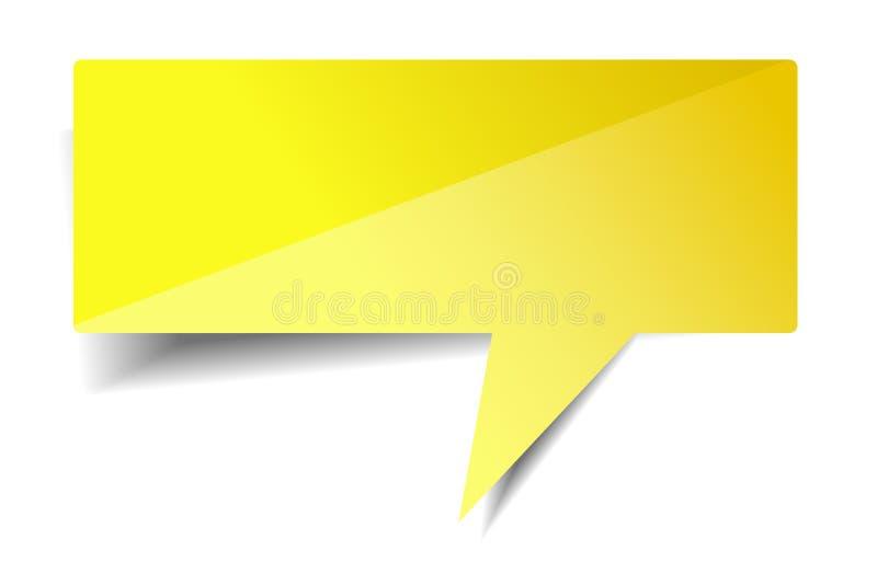 Пустая сияющая желтая беседа пузыря на белой предпосылке иллюстрация штока