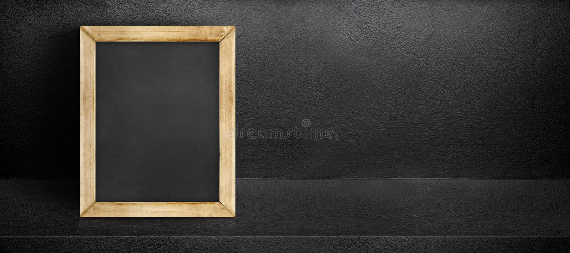 Пустая склонность классн классного на черном внутреннем backgroun комнаты цемента стоковое изображение