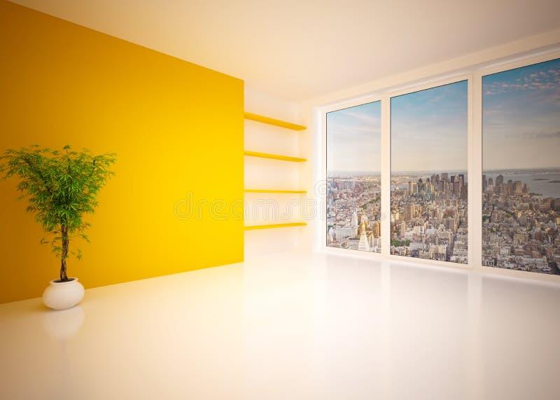 Пустая современная внутренняя живущая комната, салон стоковые фото